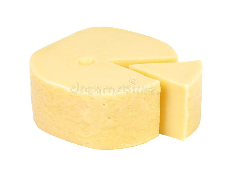 Big wedge of cut cheese. stock images