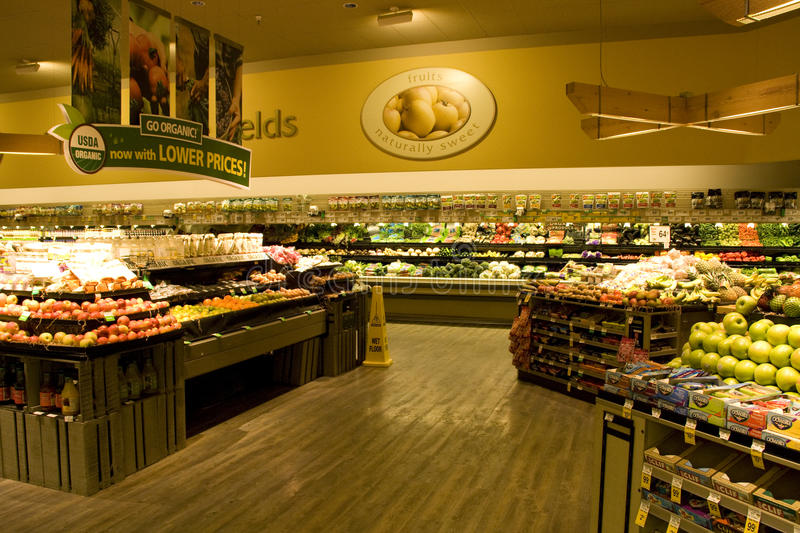 Big grocery store with organic choices royalty free stock images