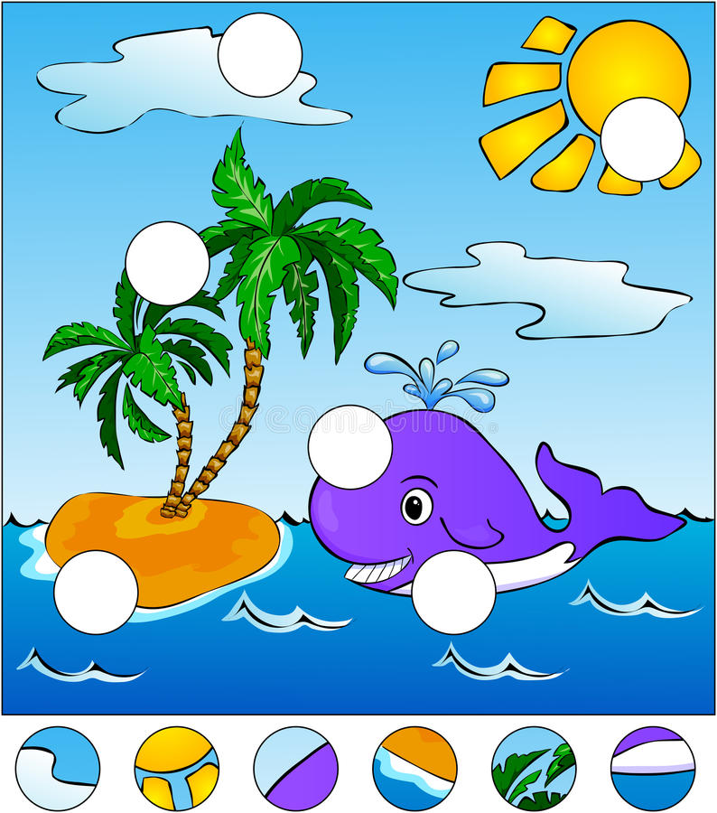 A big whale swiming in the sea. complete the puzzle and find the stock illustration