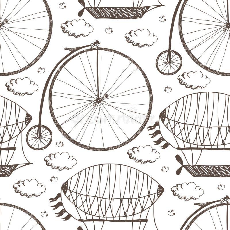 Big wheel bicycle and airships