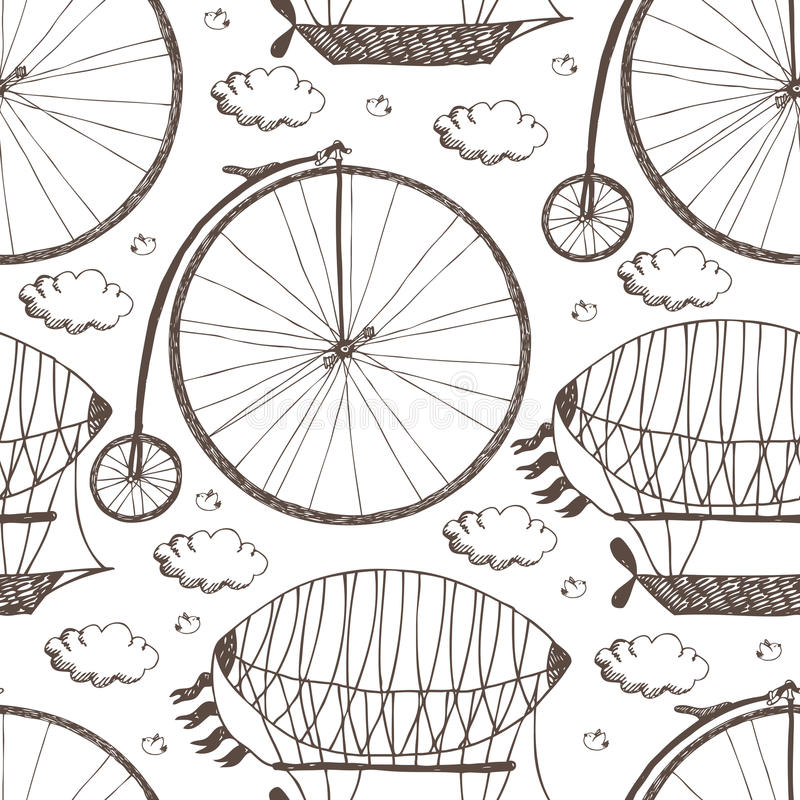 Free Big Wheel Bicycle And Airships Stock Photography - 35700442