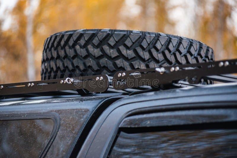 Big wheel car closeup . Offroad 4x4 concept.  stock photography