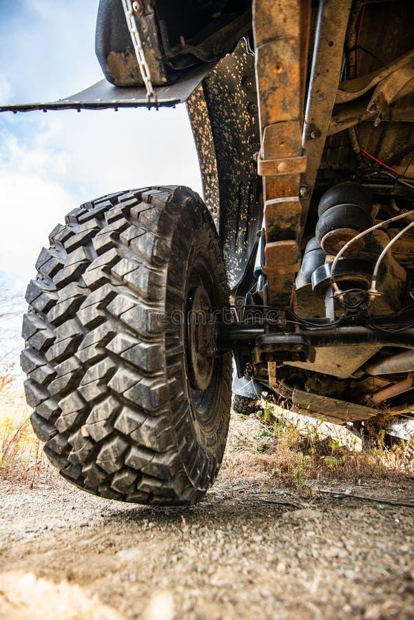 Big wheel car closeup . Offroad 4x4 concept.  stock image