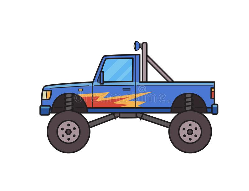 Big wheel monster truck decorated with fire pattern. Bigfoot truck. Isolated image on white background. Vector. Big wheel monster truck decorated with fire royalty free illustration