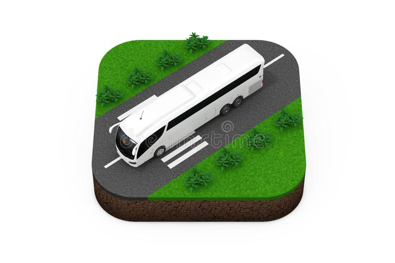 Big White Coach Tour Bus over Route Isometric Icon. 3d Rendering. Big White Coach Tour Bus over Route Isometric Icon on a white background 3d Rendering stock photography