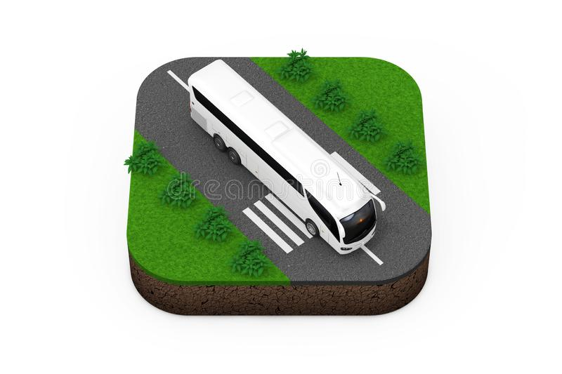 Big White Coach Tour Bus over Route Isometric Icon. 3d Rendering. Big White Coach Tour Bus over Route Isometric Icon on a white background 3d Rendering royalty free illustration
