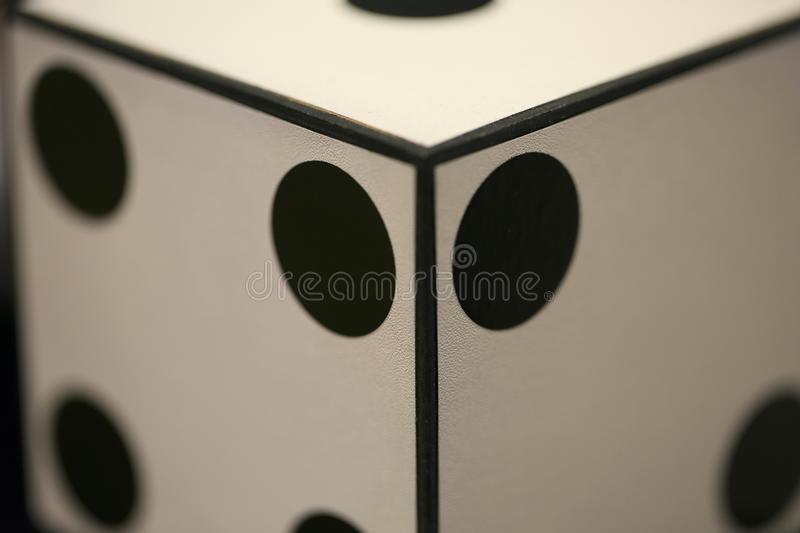 Big white dice for magicians.  stock photo