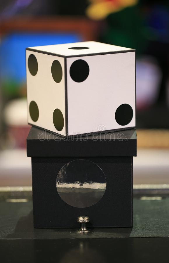 Big white dice for magicians.  royalty free stock photo
