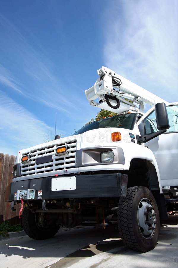 Free Big White Diesel Truck With Boom Royalty Free Stock Photo - 8347225