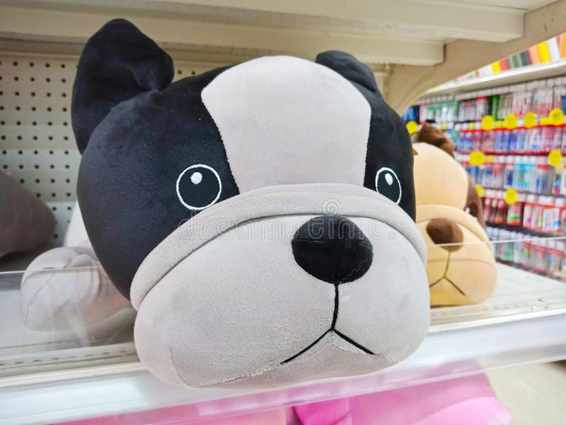 Big doggy plush in a toy store stock photos