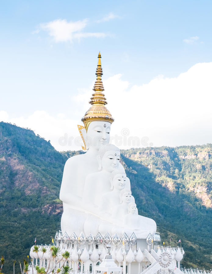 The big white five buddha statue at wat phra thart pha son kaew in Khao Kho stock images