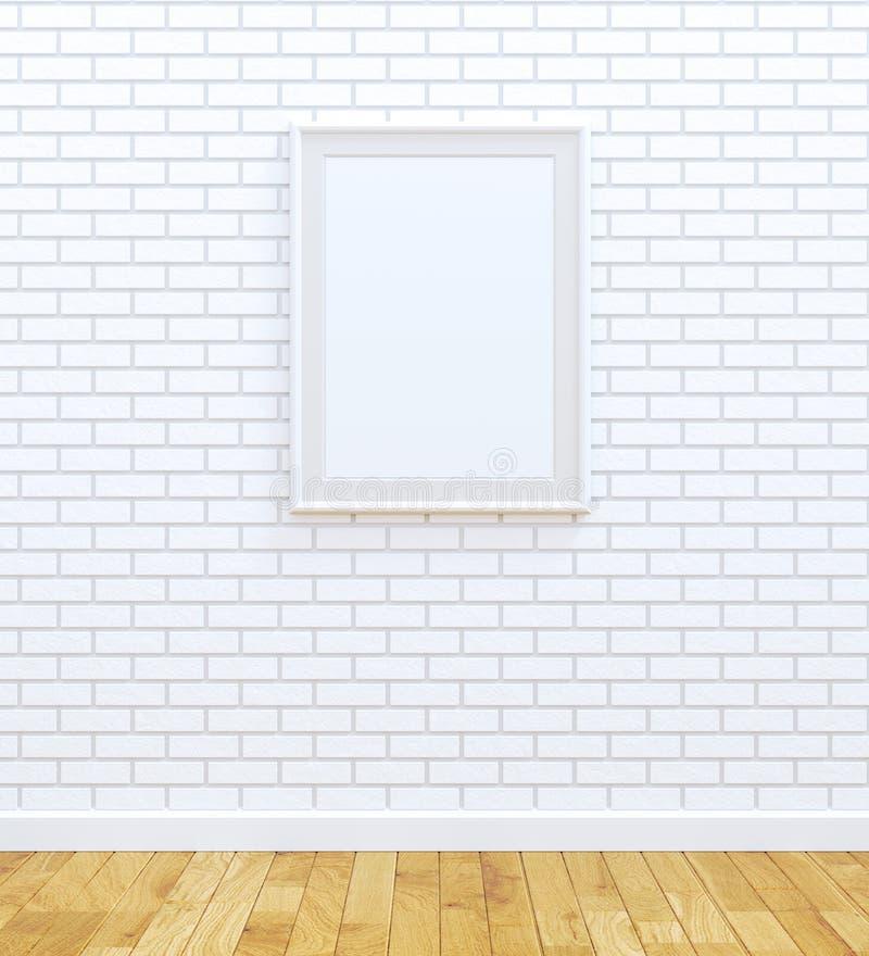Big white frame. Big blank frame on white brick wall stock illustration