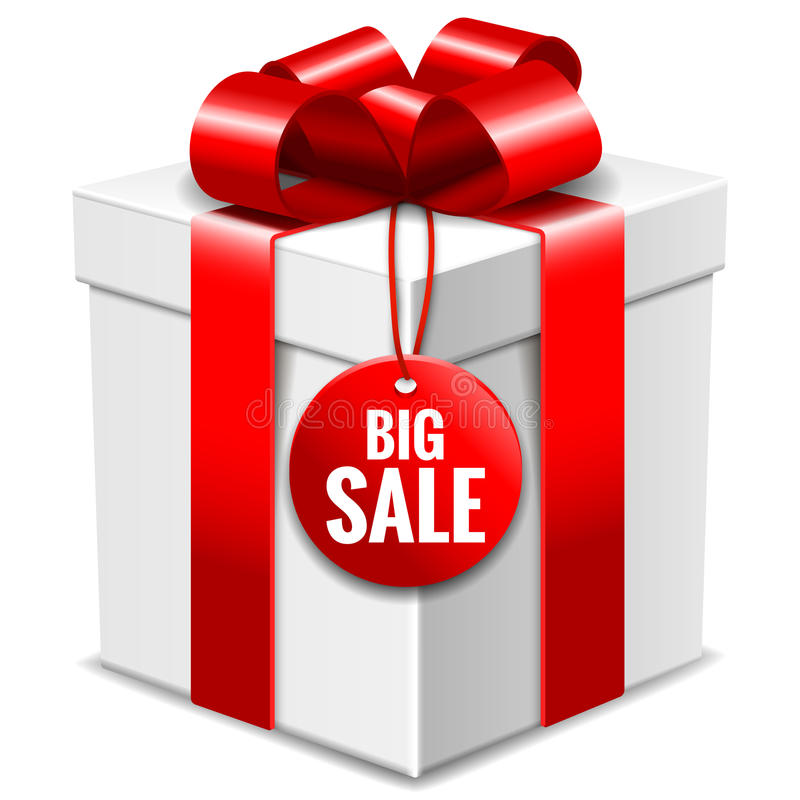 Big white gift box with red bow and big sale tag isolated on white stock illustration