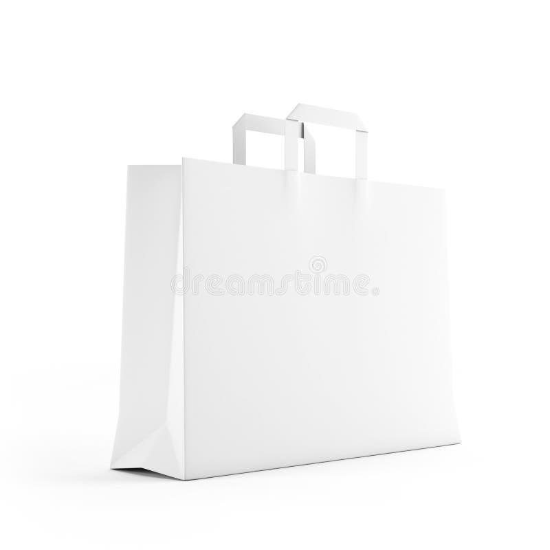 Big white paper bag isolated on white. Background stock illustration