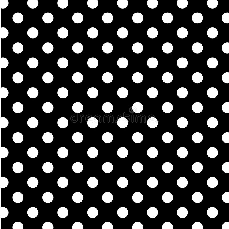 Big White Polka Dots on Black, Seamless Background stock photo