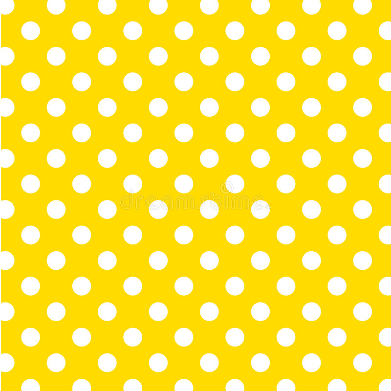 Big White Polka Dots on Yellow, Seamless Background stock illustration