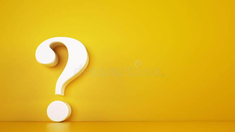 Big white question mark on a yellow background. 3D Rendering royalty free stock photography