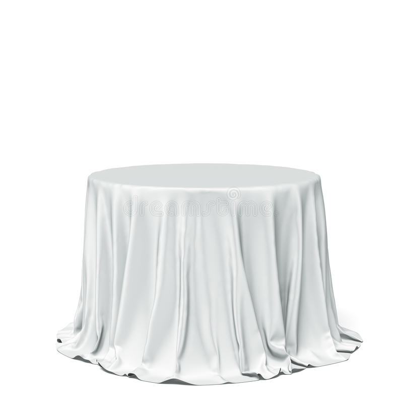 Big white round table and cloth. Isolated on a white background royalty free stock images