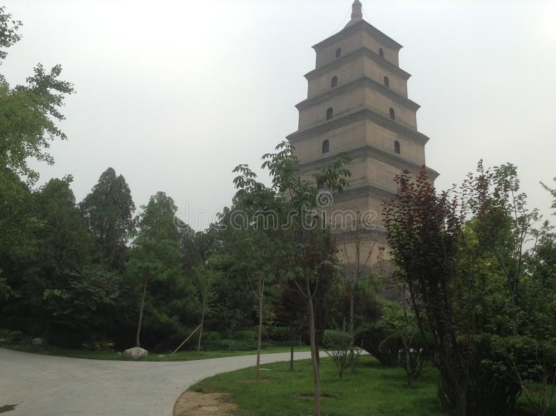 Big Wild Goose Pagoda. Located in Xi`an, Shaanxi Province, Yanta District, the Great Mercy Temple, is a 7-storey square pagoda. The tower is a famous monuments stock images