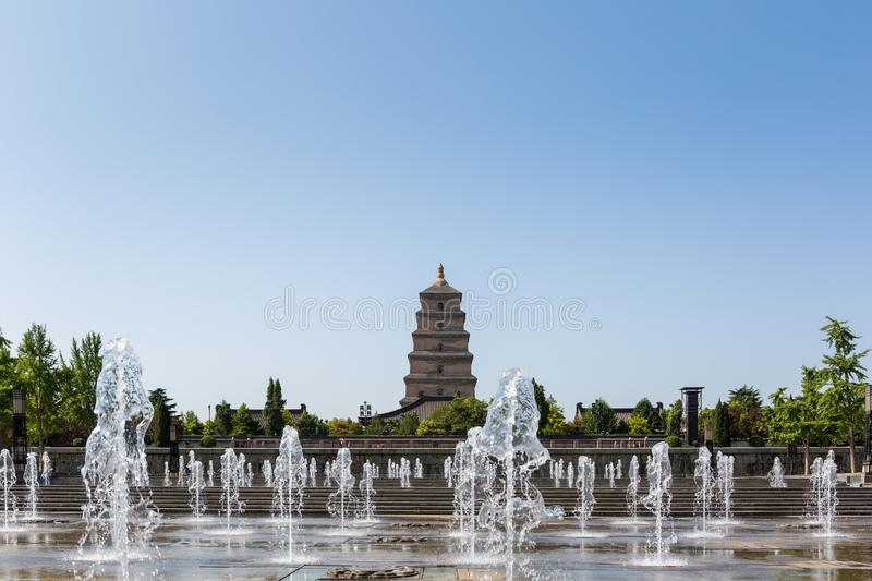 Big wild goose pagoda and fountain square. Xian, China royalty free stock photography