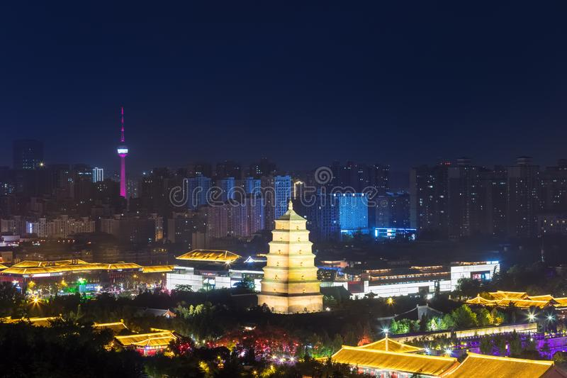 Big wild goose pagoda at night. In xian, China stock photo