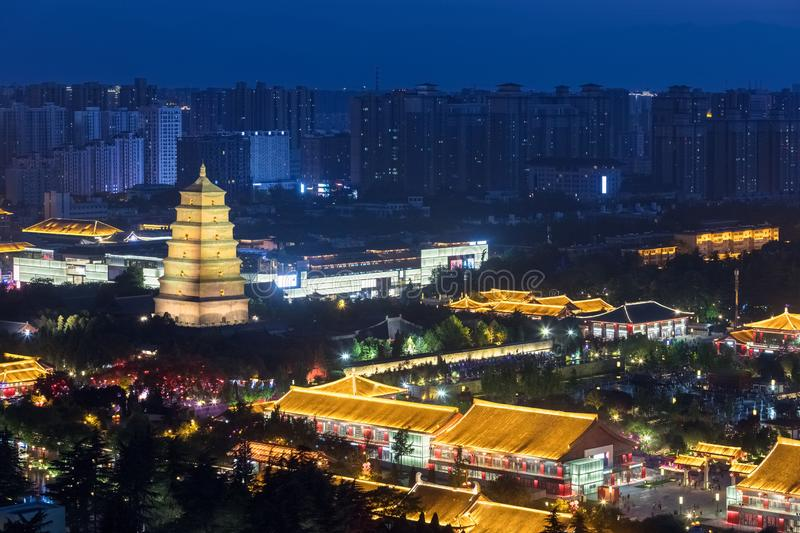 Big wild goose pagoda in xi `an at night. China stock images