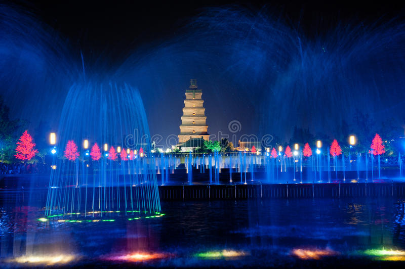 Big Wild Goose Pagoda in Xian. Illuminated water show at 1300-year-old Big Wild Goose Pagoda in Xian, Shaanxi province, China royalty free stock image