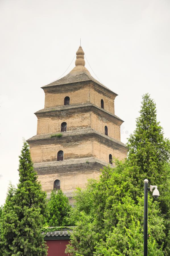 Big Wild Goose Pagoda Xian. The giant wild goose pagoda or Dayan Pagoda locaed in Da Cien Temple complex in Xian China on an overcast day royalty free stock photo