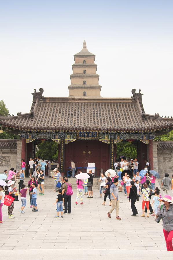 Big Wild Goose Pagoda Xian and tourists royalty free stock images