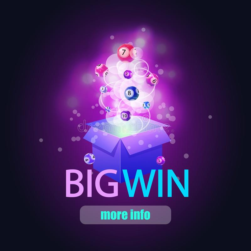 BIG WIN background with shining magic lights and lotto balls, VECTOR illustration. Image Background royalty free illustration
