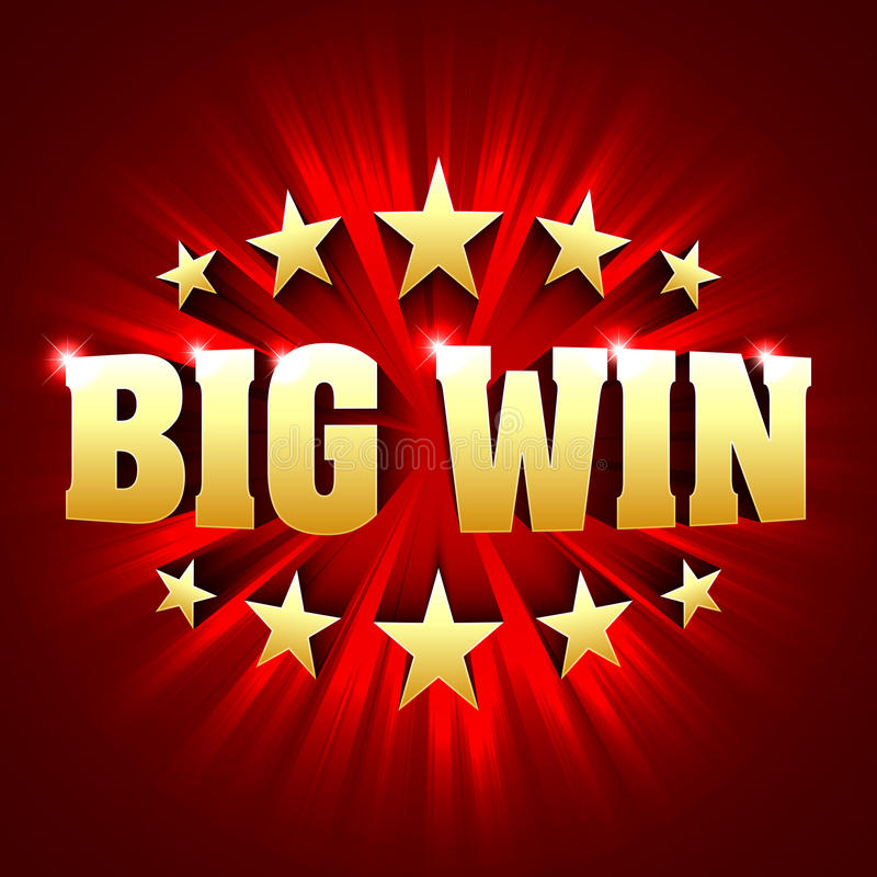 Big Win banner background for lottery or casino games. Such as poker, roulette, slot machines or card games vector illustration