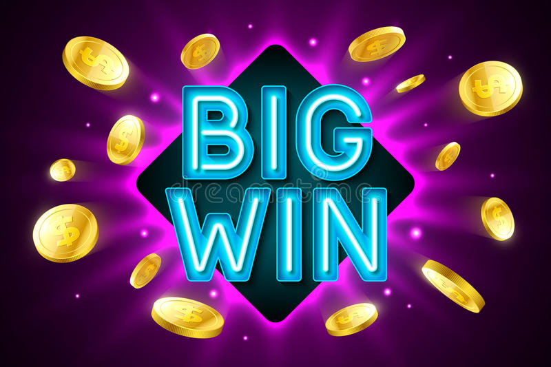 Big Win banner for gambling casino games. Bingo or lottery royalty free illustration