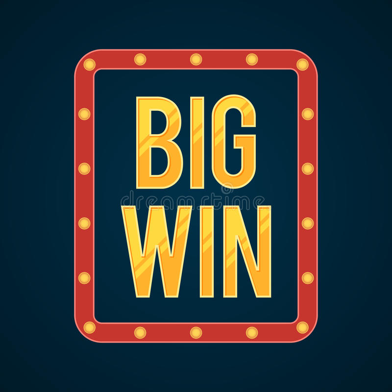 Big Win banner with glowing lamps royalty free illustration