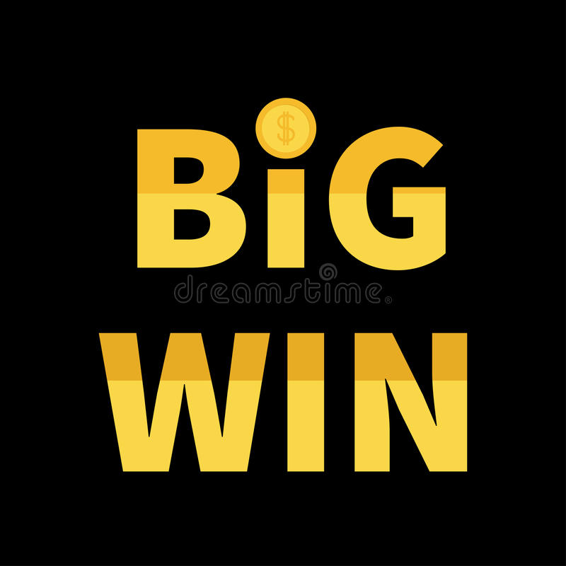Big Win banner. Golden text with dollar sign gold coin. Decoration element for online casino, roulette, poker, slot machines, card royalty free illustration