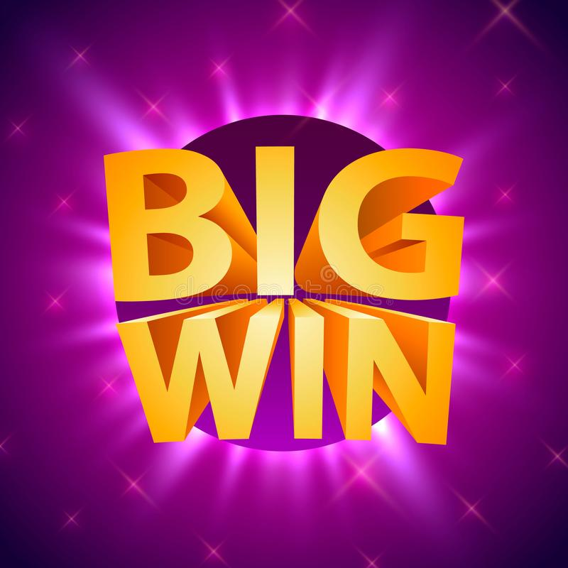 Big win casino signboard, game banner design. vector illustration