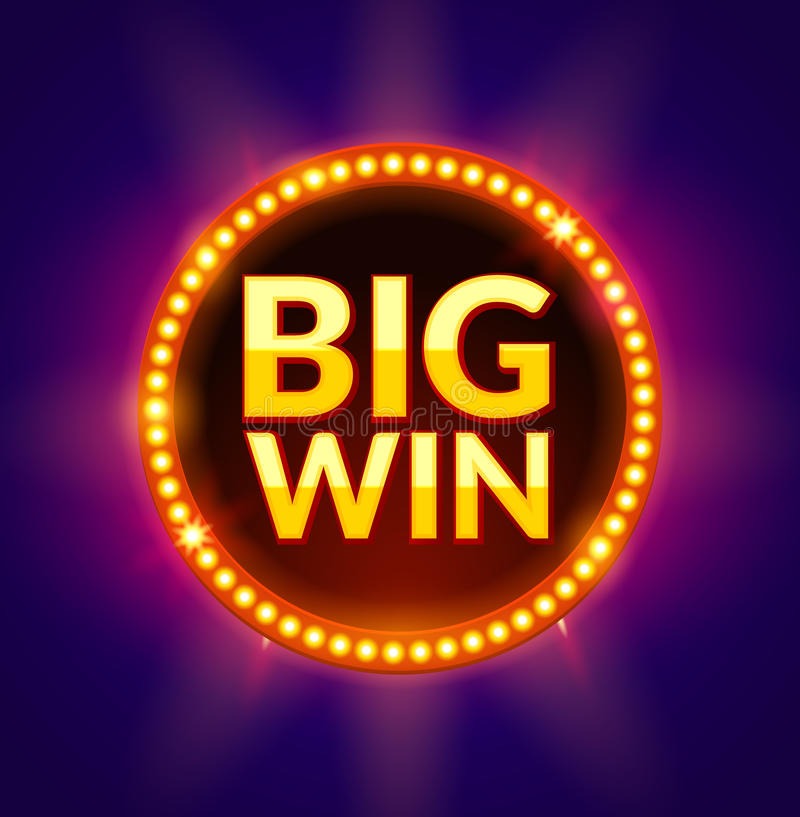 Big Win glowing banner for online casino, slot, card games, poker or roulette. Jackpot prize design background. Winner. Sign royalty free illustration