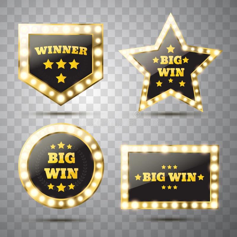 Big Win glowing banner. Winner sign vector illustration