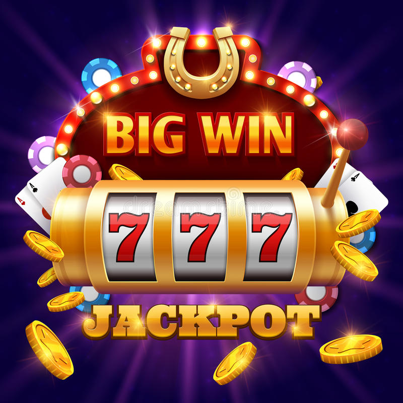 Big win 777 lottery vector casino concept with slot machine. Win jackpot in game slot machine illustration stock illustration