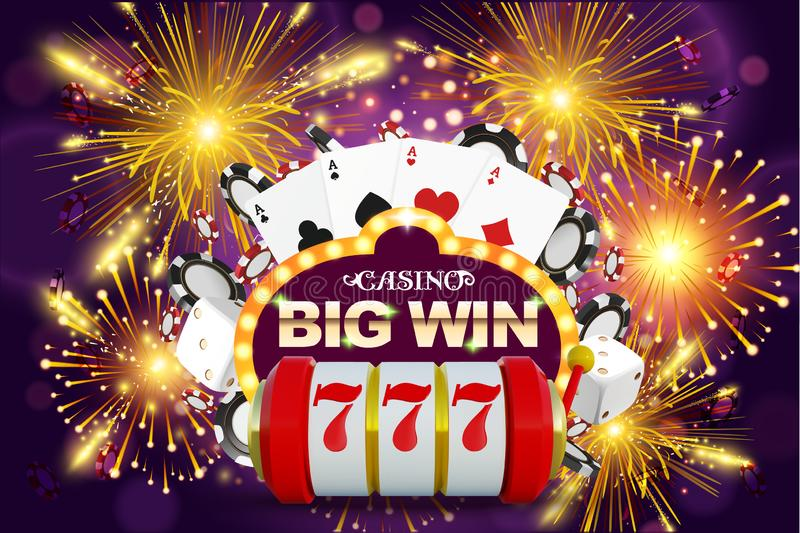 Big win 777 lottery vector casino concept with slot machine, playing chips. Win jackpot in game slot machine royalty free illustration