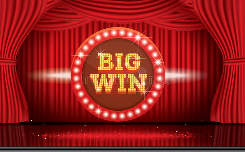 Big Win Neon Banner With Red Curtain Stock Vector Illustration Of Movies Background 97720998