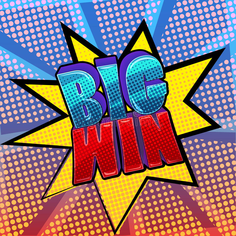 Big win pop art sign vector illustration