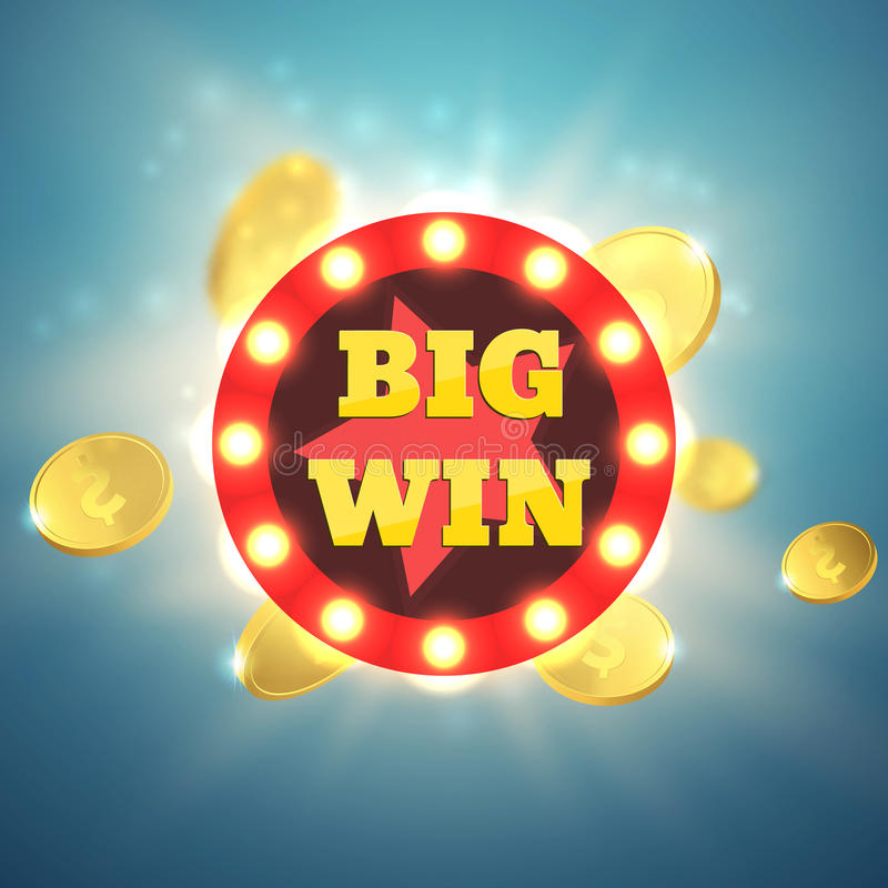 Big Win retro banner with glowing lamps. Vector royalty free illustration