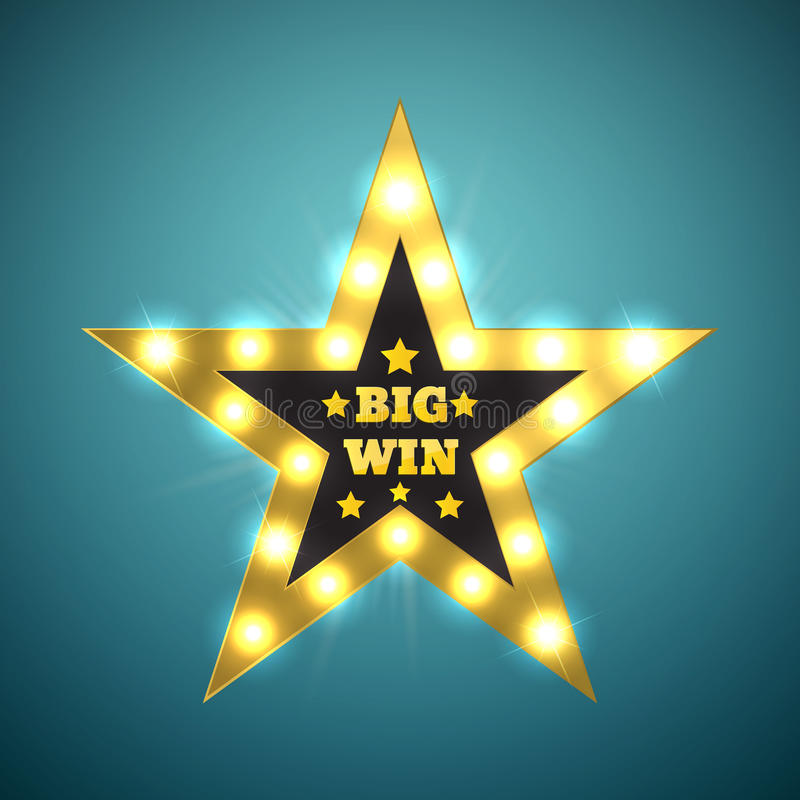 Big Win retro banner with glowing lamps. Vector vector illustration