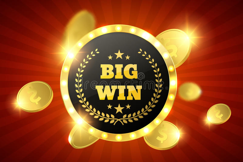 Big Win retro banner with glowing lamps. Vector stock illustration