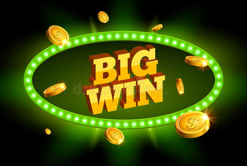 Big win retro banner glowing sign. Big win roulette jackpot casino business background of prize sign vector illustration