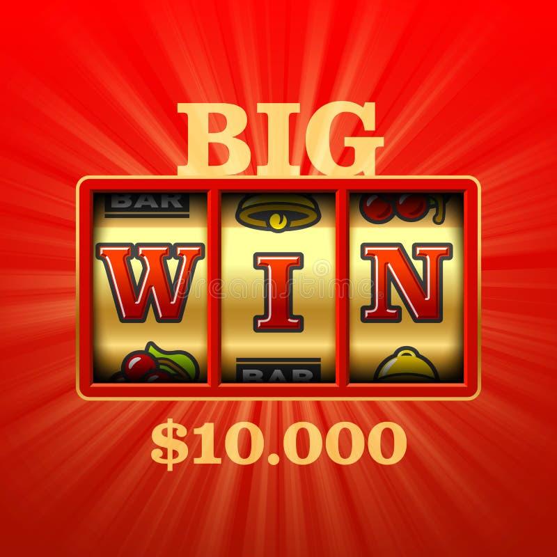Big Win slot machine. Casino banner vector illustration