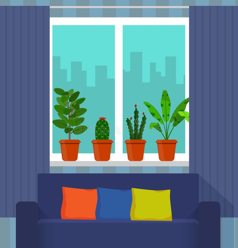 Big window with curtain and plants in pots on the windowsill, the couch in the foreground. City outside the window. Vector illustr. Ation in flat style royalty free illustration