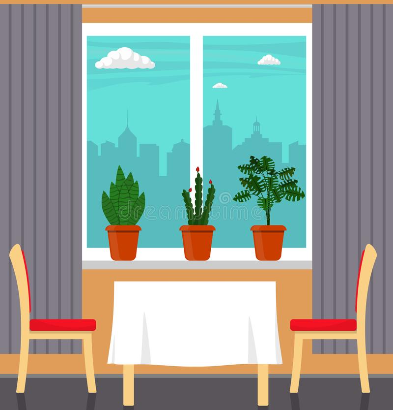 Big window with curtain and plants in pots on the windowsill, table with white tablecloth and two chairs in the foreground. City o. Utside the window. Vector royalty free illustration