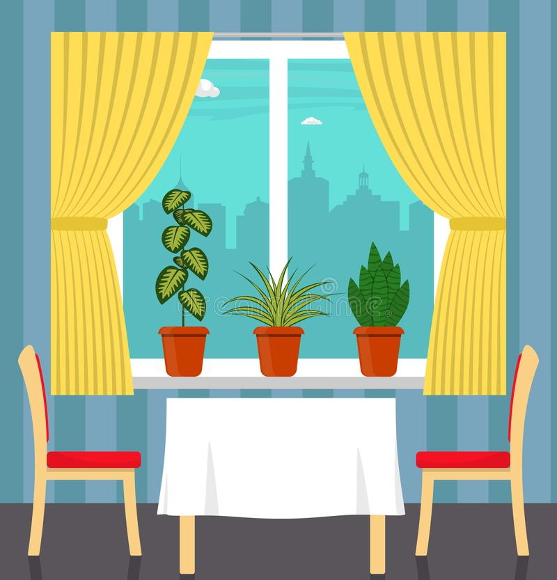 Big window with curtain and plants in pots on the windowsill, table with white tablecloth and two chairs in the foreground. City o. Utside the window. Vector stock illustration