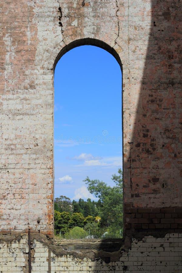Big window in ruin royalty free stock image